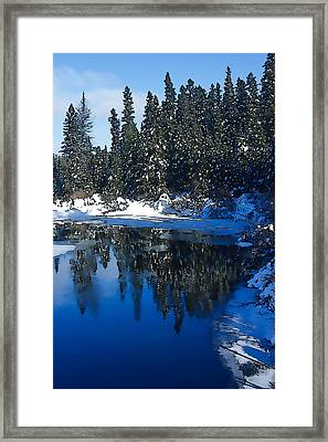 Cool Blue Shadows - Riverbank Winter Framed Print by Georgia Mizuleva