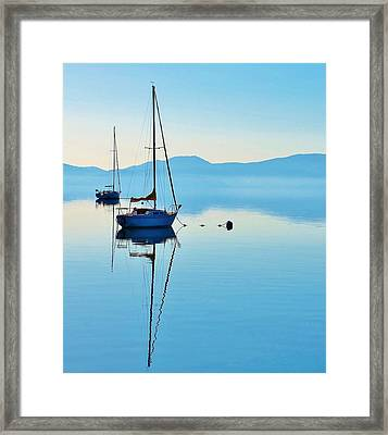 Cool Blue Tahoe Sail Framed Print