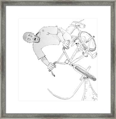Cool Bmx Drawing Framed Print by Mike Jory