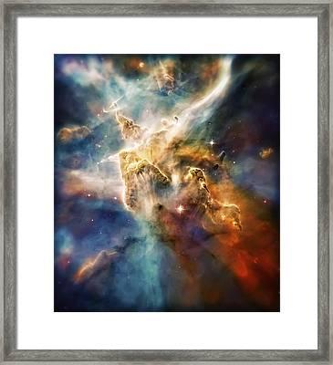 Cool Carina Nebula Pillar 4 Framed Print by Jennifer Rondinelli Reilly - Fine Art Photography