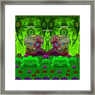 Cool Cats In Rainbow Style Framed Print