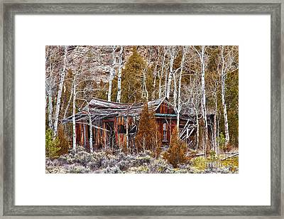 Cool Colorado Rural Rustic Rundown Rocky Mountain Cabin  Framed Print