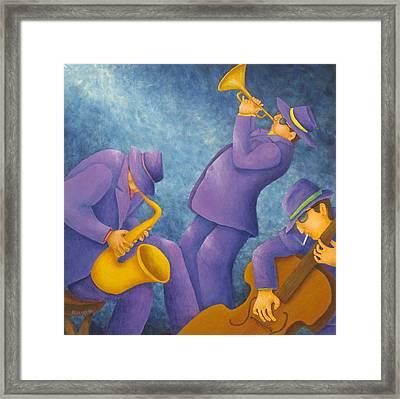 Cool Jazz Trio Framed Print by Pamela Allegretto
