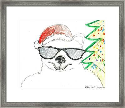 Cool Christmas Polar Bear  Framed Print by Ethan Chaupiz