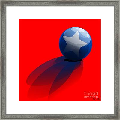 Blue Ball Decorated With Star Red Background Framed Print by R Muirhead Art