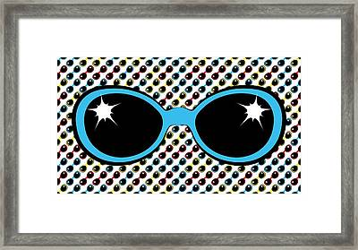 Cool Retro Blue Sunglasses Framed Print by MM Anderson