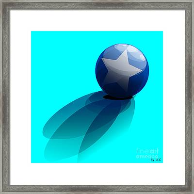 Blue Ball Decorated With Star Turquoise Background Framed Print by R Muirhead Art