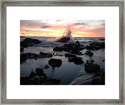 Cool Wave At Sunup Framed Print by Sandra Updyke