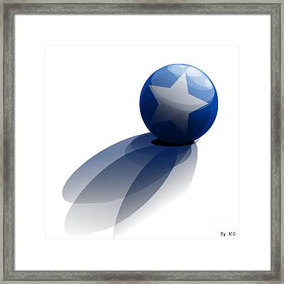 Blue Ball Decorated With Star Grass White Background Framed Print by R Muirhead Art