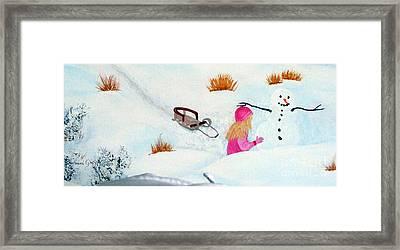Cool  Winter Friend - Snowman - Fun Framed Print by Barbara Griffin
