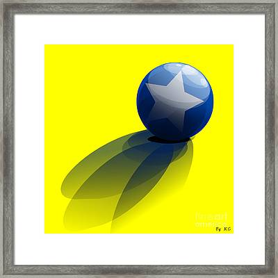 Blue Ball Decorated With Star Yellow Background Framed Print by R Muirhead Art