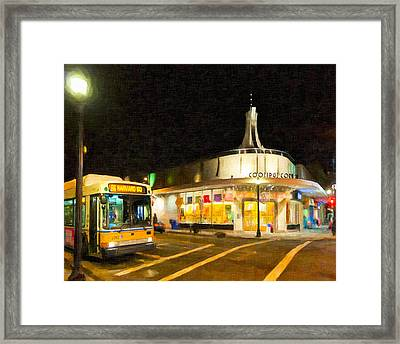 Coolidge Corner In Brookline At Night Framed Print by Mark E Tisdale