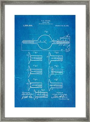 Coolidge X-ray Tube Patent Art 1913 Blueprint Framed Print by Ian Monk