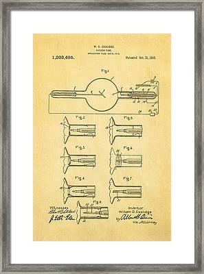 Coolidge X-ray Tube Patent Art 1913 Framed Print by Ian Monk