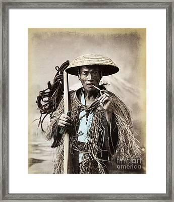 Coolie - With Rain Coat Framed Print by Pg Reproductions