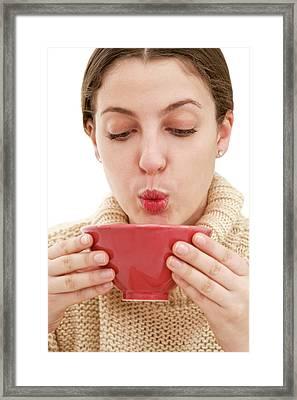 Cooling Hot Soup Framed Print
