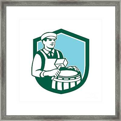 Cooper Barrel Maker Drum Retro Shield Framed Print by Aloysius Patrimonio