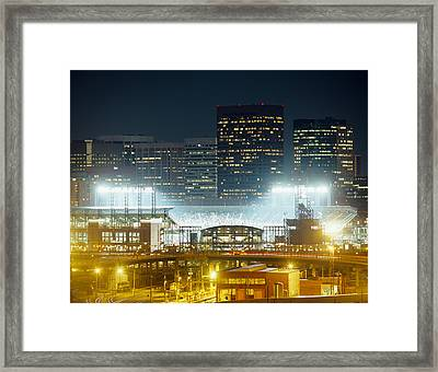 Coors Field Lit Up At Night, Denver Framed Print by Panoramic Images