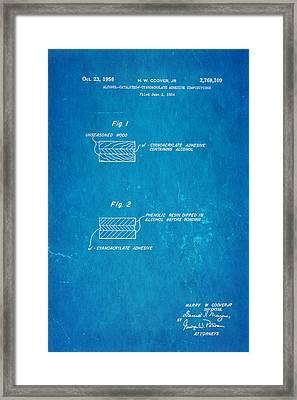 Coover Superglue Patent Art 1956 Blueprint Framed Print by Ian Monk