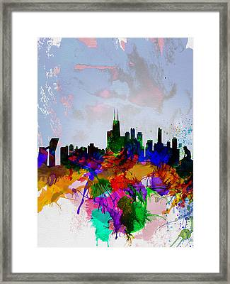 Copenhagen Watercolor Skyline Framed Print