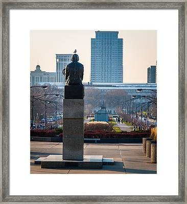 Copernicus Watches Over Chicago Framed Print by Cliff C Morris Jr