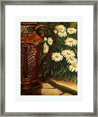 Copper And Daisies Framed Print