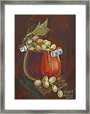Copper Kettle Of Grapes Framed Print