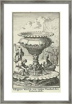 Copper Laver Or Wash Basin In The Court Of The Tabernacle Framed Print