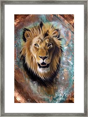 Copper Majesty - Lion Framed Print by Sandi Baker