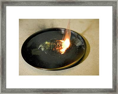 Copper Oxide And Zinc Reaction Framed Print by David Taylor/science Photo Library