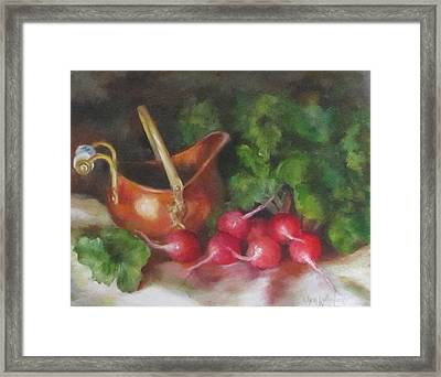Copper Pot And Radishes Still Life Painting Framed Print