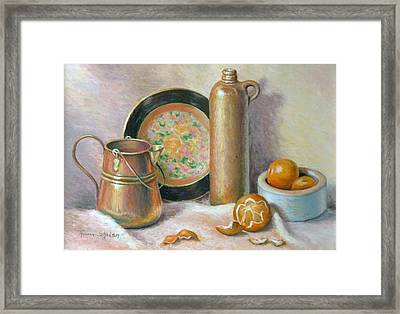Copper Pot With Tangerines Framed Print by Theresa Shelton