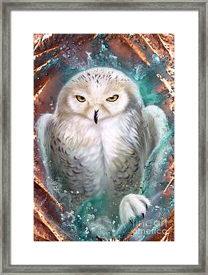 Copper Snowy Owl Framed Print by Sandi Baker