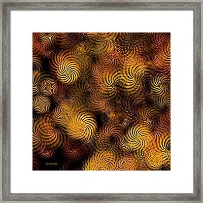 Copper Spirals Abstract Square Framed Print
