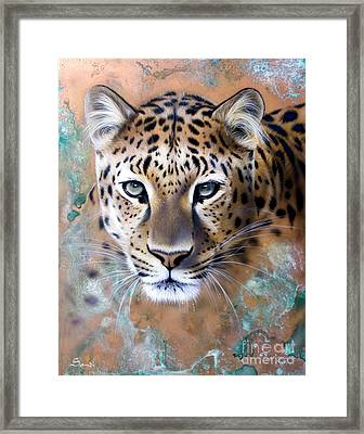 Copper Stealth - Leopard Framed Print by Sandi Baker