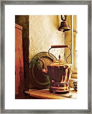 Copper Tea Kettle On Windowsill Framed Print by Susan Savad
