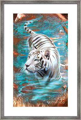 Copper White Tiger Framed Print by Sandi Baker