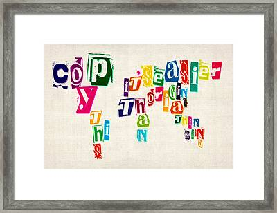 Copy This World Map Framed Print by Michael Tompsett