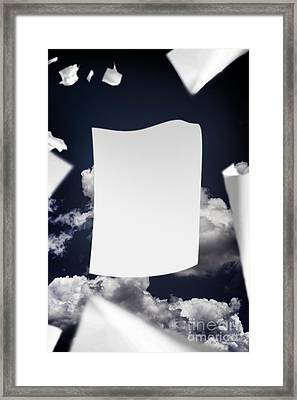 Copyspace Paper Document Flying In The Wind Framed Print