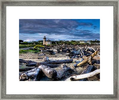 Coquille River Lighthouse And Driftwood Framed Print