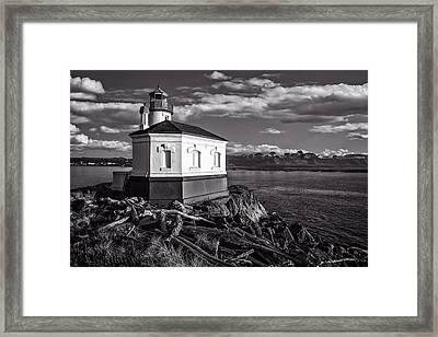 Coquille River Lighthouse Upriver Bw Framed Print by Joe Hudspeth