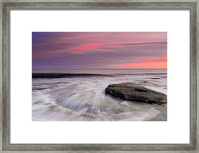 Coquina Rocks Washed By Ocean Waves At Colorful Sunset Framed Print