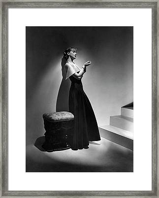Cora Hemmet Wearing A Gown With Lame Revers Framed Print by Horst P. Horst