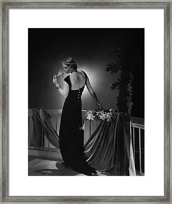 Cora Hemmet Wearing A Vionnet Gown Framed Print by Horst P. Horst