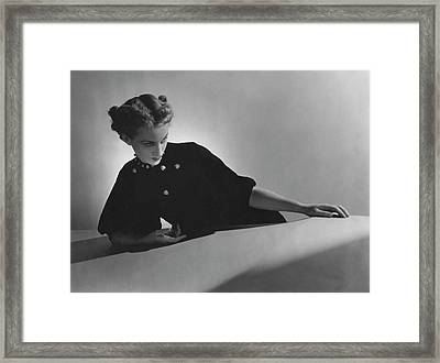 Cora Hemmet Wearing Pins And Necklace By Cartier Framed Print