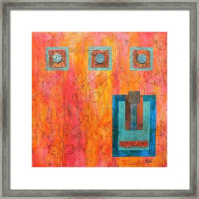 Coral And Turquoise Framed Print
