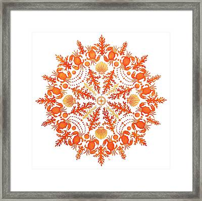 Coral Crab Mandala Framed Print by Stephanie Troxell