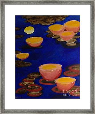 Coral Lily Pond Framed Print by Anita Lewis