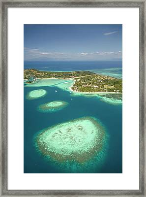 Coral Reef And Malolo Lailai Island Framed Print
