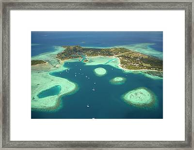 Coral Reef And Musket Cove Island Framed Print by David Wall